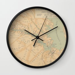 Vintage Map of The James River (1899) Wall Clock