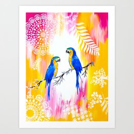 Macaws and Happiness Art Print