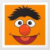 sesame street Art Prints featuring Sesame Street Bert by Jconner