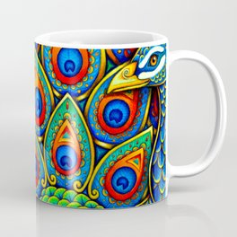 Colorful Paisley Peacock Rainbow Bird Coffee Mug