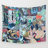 lipstick Wall Tapestries featuring Lipstick Outlaw by Katy Hirschfeld