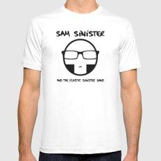 Plastic Sinister Band Logo MEDIUM White Mens Fitted Tee