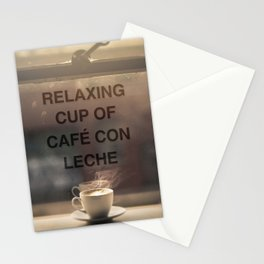 RELAXING CUP OF CAFE CON LECHE Stationery Cards