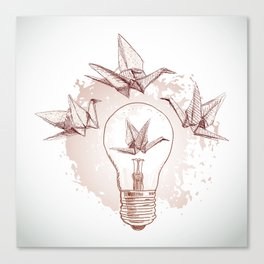 Origami paper cranes and light Canvas Print