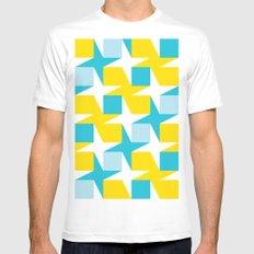 Orange & turquoise blue stars & squares geometric pattern Mens Fitted Tee MEDIUM White