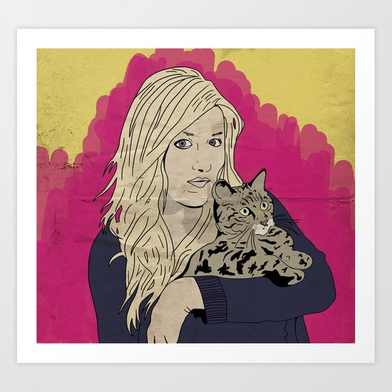 Girl and cat Art Print