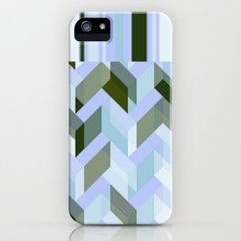 Chevron Blue Chalk Stripes iPhone Case