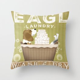 Beagle dog laundry basket artwork Stephen fowler Throw Pillow