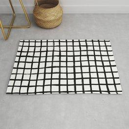 Strokes Grid - Black on Off White Rug