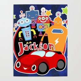 Jax-Red Car + Robots Poster