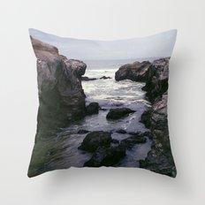 Dark and Rocky Coastline Throw Pillow