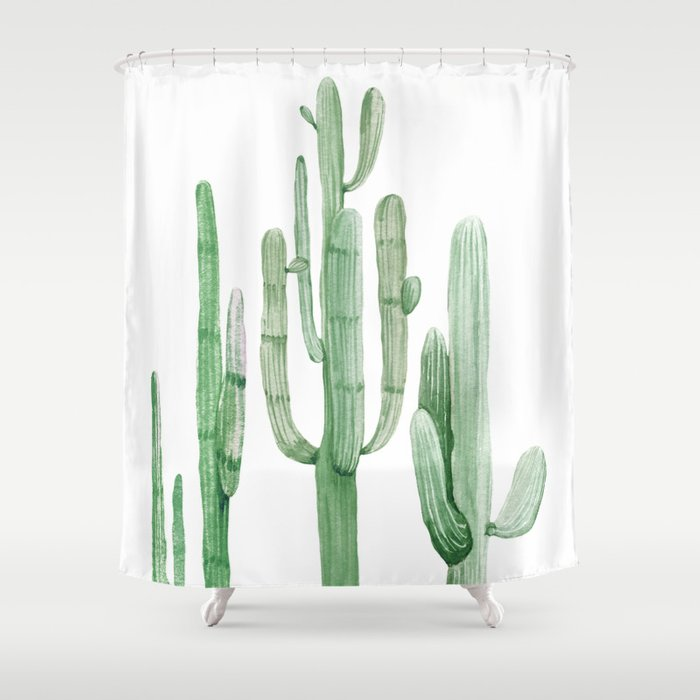 Three Amigos White + Green by Nature Magick Shower Curtain