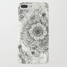 Messy Boho Floral in Charcoal and Cream  iPhone 7 Plus Slim Case
