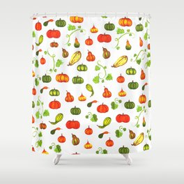 Autumn Pumpkin and Gourd Pattern Shower Curtain