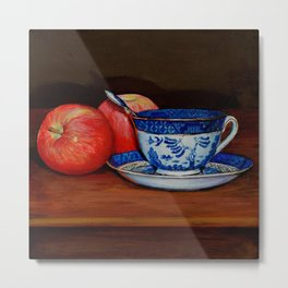 Teacup with Two Apples Metal Print
