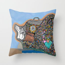 Bubble Boat Throw Pillow