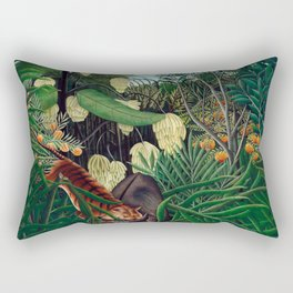 Henri Rousseau - Fight between a Tiger and a Buffalo Rectangular Pillow
