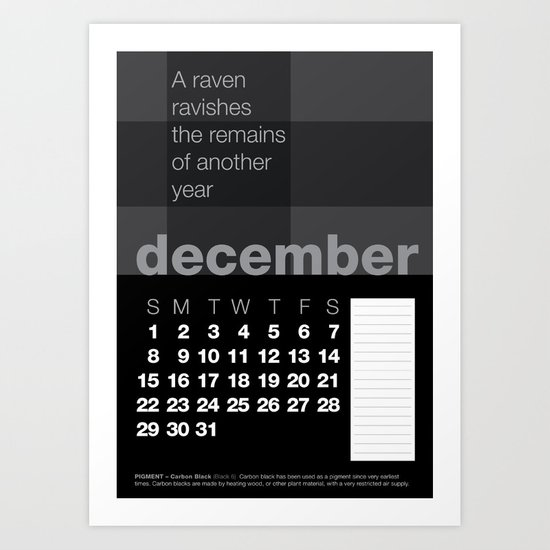 2013 Pigment to Pantone Calendar – DECEMBER Art Print