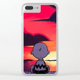 snoopy sunset Clear iPhone Case