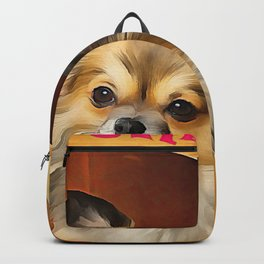 A long haired Chihuahua. (Painting) Backpack
