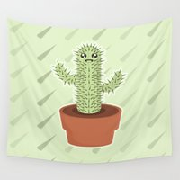 kawaii Wall Tapestries featuring Kawaii Cactus by Nir P
