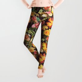 Autumn Flowers and Leaves Leggings