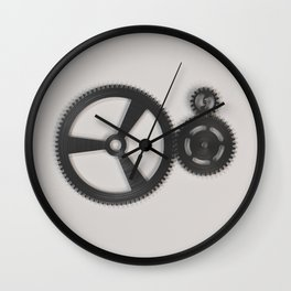 Set of metal gears and cogs on white Wall Clock