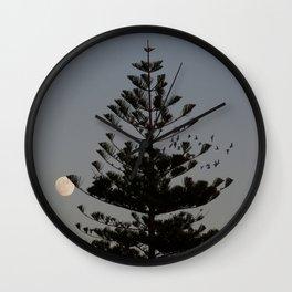 Araucaria tree, full moon, flight of birds Wall Clock