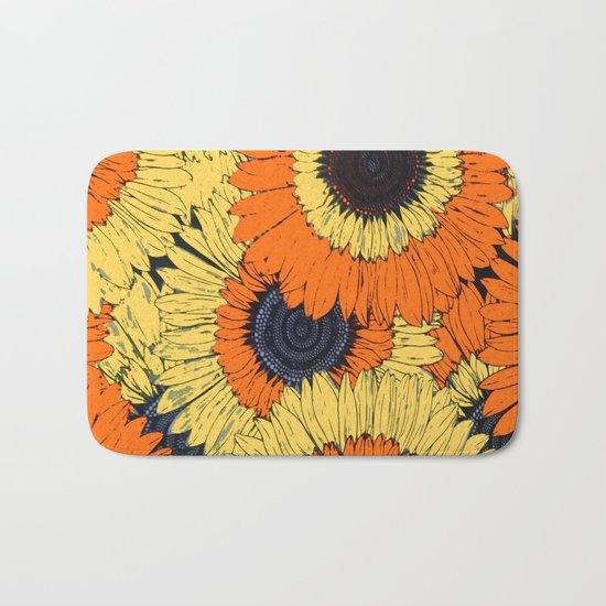 Abstracted Orange Yellow Deco Sunflowers Bath Mat