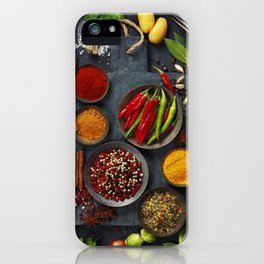 Fresh delicious ingredients for healthy cooking  on rustic background iPhone Case