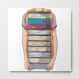 Book pile holding arms Metal Print