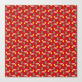 New year pattern in red Canvas Print