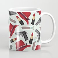 peggy carter Mugs featuring Peggy Carter Pattern by HayPaige