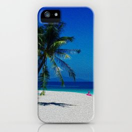 Sand Sea Sky Palm Tree Tropical Beach Pink Float Speed Boat Turquoise Paradise Rawa Island Malaysia iPhone Case