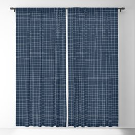 Blue and White Grid - Disorderly Order Blackout Curtain