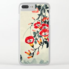 Three Chicks and Trumpet Flowers Clear iPhone Case