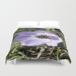 Lilac Blue Anemone Coronaria Wild Flower Duvet Cover