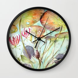 Waterlily Watercolor Lilypad Illustration Pond Surreal Art Botanical Painting Wall Clock