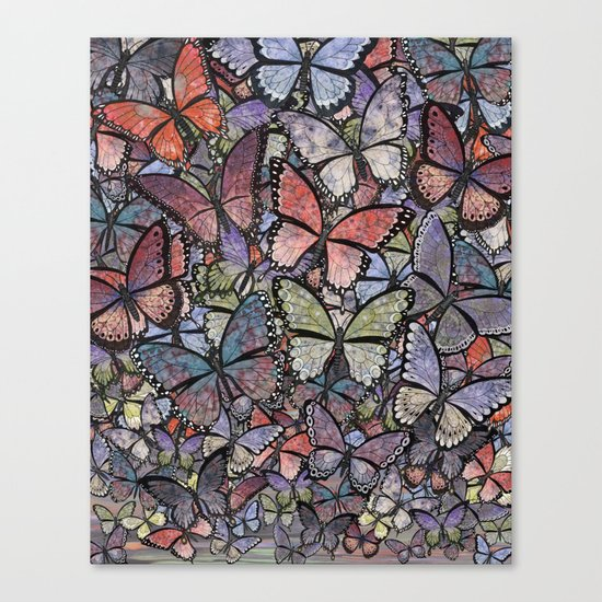 butterflies galore grunge version Canvas Print