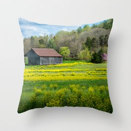 Obannon Woods Barn in Spring - White Cloud - Indiana Throw Pillow
