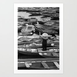 Parked boats in Vietnam Art Print