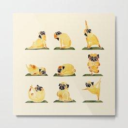 Pug Yoga Watercolor Metal Print