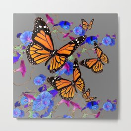 MONARCH BUTTERFLIES & BLUE MORNING GLORIES Metal Print