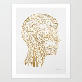 Head Profile Branches - Gold Art Print