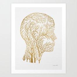 Head Profile Branches - Gold Art Print