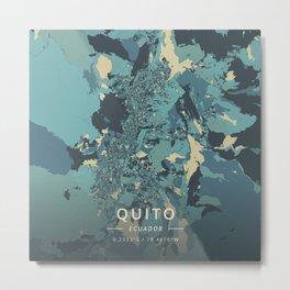 Quito, Ecuador - Cream Blue Metal Print