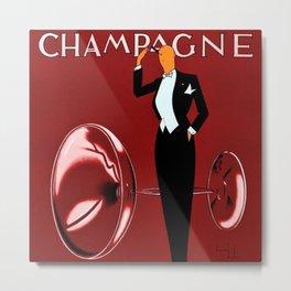 Vintage Champagne Red Veuve A. Devaux, Paris, France Jazz Age Roaring Twenties Advertisement Poster Metal Print