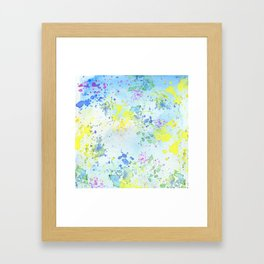 Colorful Yellow and Blue Watercolor Painting Framed Art Print