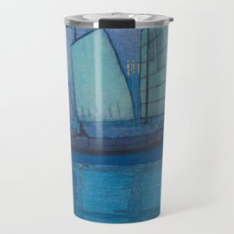 Sailing Boats, Night (Hansen, Yoru) Hiroshi Yoshida Vintage Japanese Woodblock Print Travel Mug