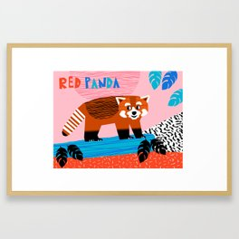 Red Panda - wacka kidz memphis animal alphabet 80's retro art print Framed Art Print